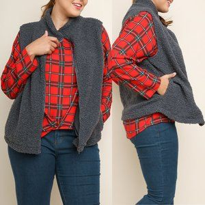 Slate Grey Boucle Knit Zip Plus Size Vest {Umgee}